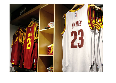 Lebron James - Jerseys on sale at the store.  The year is 2017.  Cleveland Cavaliers.