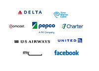 Companies with the lowest satisfaction rating in United States - logos