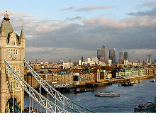 -- London skyline and Tower Bridge - Financial Center in the background --