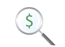 -- Dollar sign under a magnifying glass - Examination --
