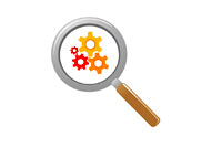Unemployment Figures - Magnifying Glass and Gears - Illustration