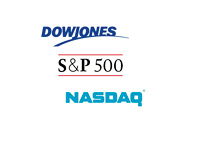 Major Market Logos - Nasdaq, Dow Jones and S+P 500