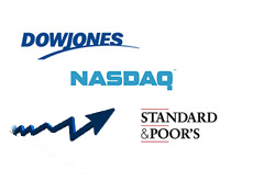-- nasdaq, dow jones, sp 500 logos and chart --