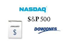 -- Nasdaq, Dow Jones and S&P 500 logos - January Calendar --