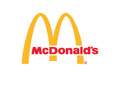 McDonalds logo - Yellow arc, red font and white background