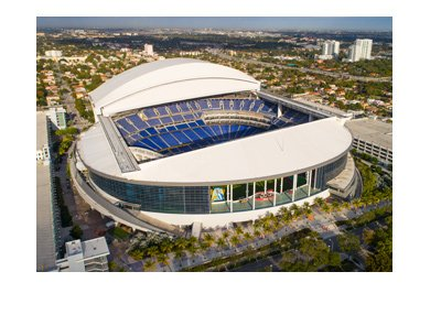 The Miami Marlins new stadium - The New Miami Stadium - Areal shot - Year is 2017.