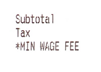 Minimum Wage Fee - Restaurant Receipt - Crop