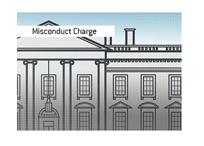 Line illustration of the White House in Washington D.C.  Drawing. Art.