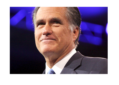 Mitt Romney photograph.  Year 2013.  Dark blue and black background.