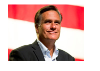 Mitt Romney in front of the United States flag