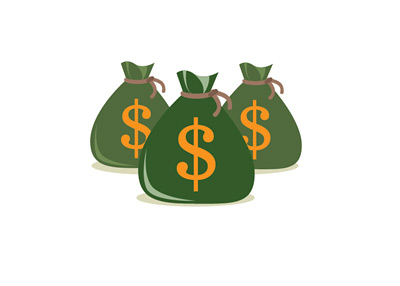 Green Dollar Money Bags - Illustration