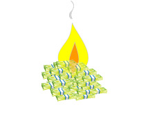 Dollar Bills up in Flames - Illustration