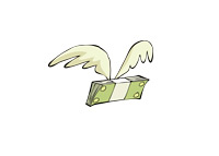 Money with wings - Illustration