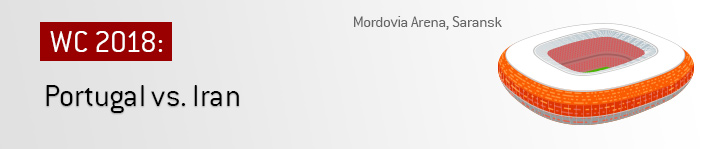 Portugal play against Iran in a group stage match at the Mordovia Arena in Saransk.  Russia World Cup 2018 - Bet on the game!