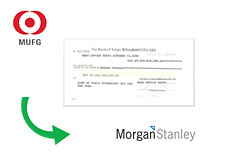 -- Mitsubishi UFJ Check to Morgan Stanley - 9 Billion Dollars --