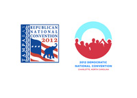 Democratic National Convention 2012 logo and Republican National Convention 2012 logo