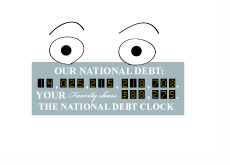 Illustration of a surprised national debt clock