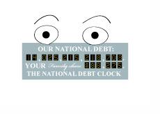 Illustration of a surprised national debt clock