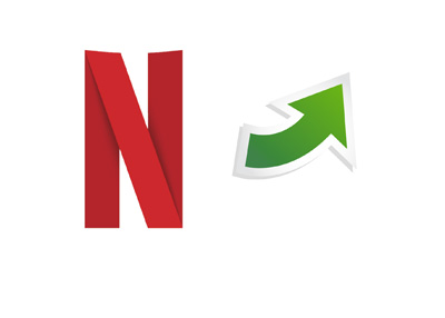 The 2016 version of the Netflix logo - Letter N stylized - Next to it is a green arrow pointing up (related to the most recent stock price increase).