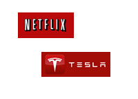 Netflix and Tesla Motors Logos in Red Colour