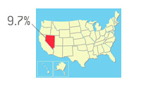 Nevada Unemployment Outlined on Map of United States - Illustration