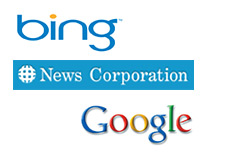 -- company logos - bing - news corporation - google --