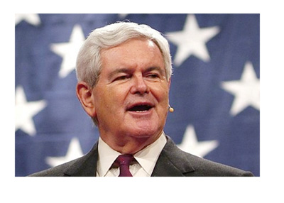 Photo of Newt Gingrich giving a speach in front of the American flag - Year 2016