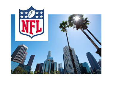 The National Football League (NFL) logo over a scenit picture of downtown Los Angeles framed by palm trees