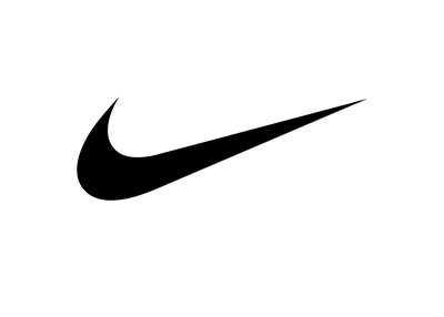 Nike swoosh logo - Black on white.