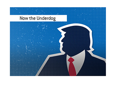 Donald Trump is now the underdog in the upcoming presidential elections.  Illustration.