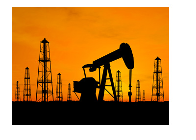 Oil Fields - Orange Background - Scenic Photo