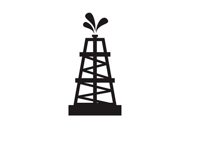 Oil Rig Illustration / Icon - Black and White
