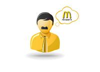 Older fast food worker - Illustration