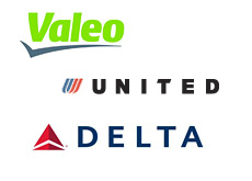 valeo - united airlines - delta airlines - logos