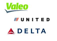 valeo - united airlines - delta airlines - logos