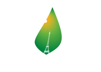 Paris Agreement - Grean leaf logo with Eiffel Tower mark.