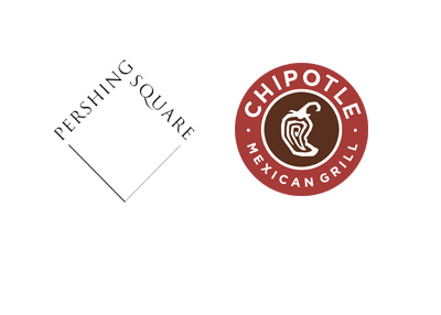 Pershing Square Capital company logo next to the Chipotle logo - Year 2016