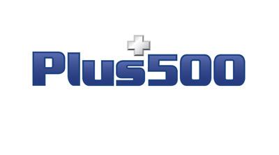 Plus 500 logo.  Blue colour
