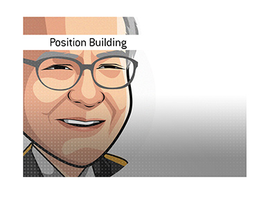 Recipe for large position building - Warren Buffett. - Illustration.
