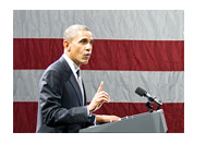 President Barack Obama - Giving a Speach - American Flag in the Background