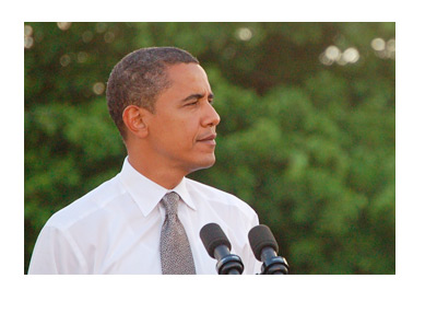 President Barack Obama - Speach - Large Green Tree in the Background