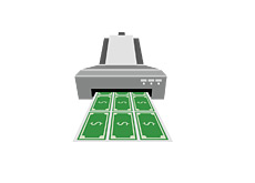 -- Illustration - Home printer printing U.S. dollar bills - money --