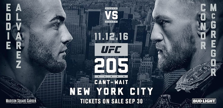 The UFC in NYC - Madison Square Garden - UFC 205 - Eddie ALvarez vs. Conor McGregor - Event poster - 12/11/2016