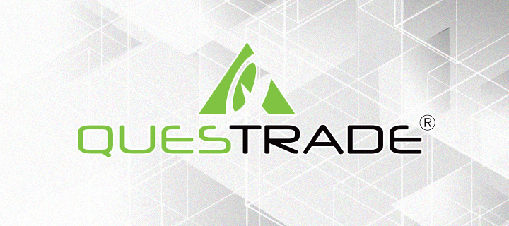 Questrade logo over a stylistic geometric background.