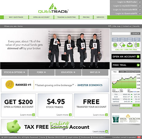 questrade website screenshot