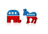Republican Elephant and Democratic Donkey Standoff - Illustration