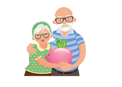 Couple with their retirement savings - Illustration