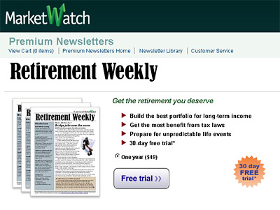 -- screenshot - marketwatch - retirement weekly subscription offer --