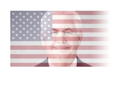 Rex Tillerson - American flag overimposed.