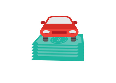 Rising car debt in the united states - Illustration / concept - Car on top of dollar bills
